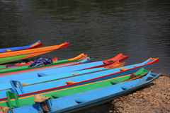 Colorful boats at riverside Stock Image