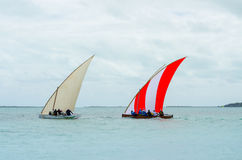 Colorful Boats sail regatta competition Stock Image