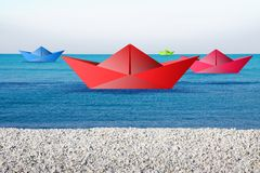 Colorful boats in the sea Royalty Free Stock Photo