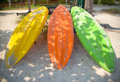 Colorful boats on beach Stock Photo