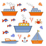Colorful boats and ships collection Royalty Free Stock Images