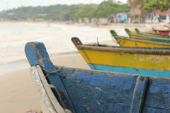Colorful boats by the shore. On a cloudy afternoon Royalty Free Stock Image