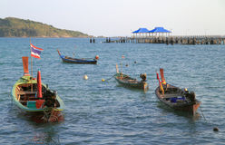 Colorful boats on the shore, Patong beach Stock Photos