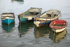 Colorful boats at sunset in Cascais, the popular seaport north of Lisbon/Lisboa Portugal Royalty Free Stock Photos