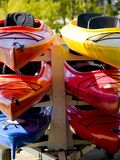 Colorful Boats on a Trailer. Royalty Free Stock Photos