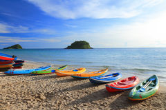 Colorful boats on the tropical beach. Royalty Free Stock Photo