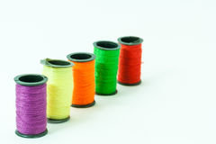 Colorful bobbin threads. Arranged in line using for embroidery works Stock Images