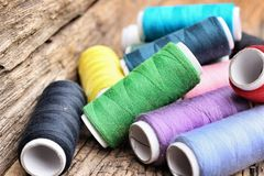 Colorful bobbins thread Stock Photo