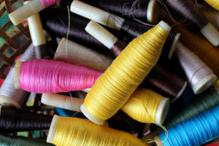 Colorful bobbins of thread Royalty Free Stock Photo