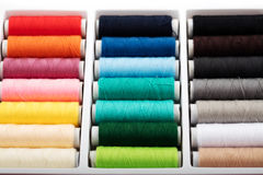 Colorful bobbins thread in plastic box Royalty Free Stock Image