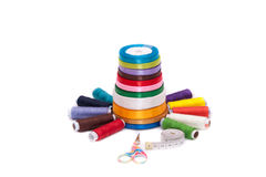 Colorful bobbles in the basket. Very colorful bobbles in the basket Royalty Free Stock Photo