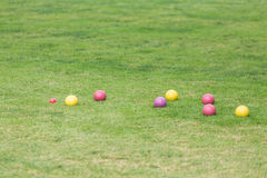 Colorful Bocce Balls in Green Lawn Royalty Free Stock Photos