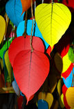Colorful bodhi leaf for Write a prayer in Vesak Festival, Thailand Stock Images
