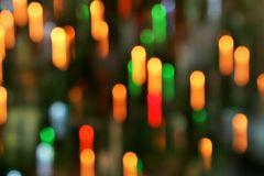 COLORFUL BOKEH BACKGROUND. Colorful out of focus bokeh lights Stock Photo