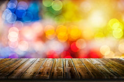 Colorful bokeh background with table royalty free stock photography