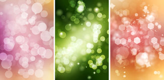 Colorful Bokeh Backgrounds Set Stock Photos