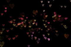 Colorful bokeh hearts Stock Photography