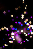 Colorful bokeh light celebrate at night, defocus light abstract background. Stock Photos