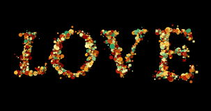 Colorful bokeh love word shape write on black background, valentine day holiday event festive with alpha, channel stock video