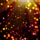 Colorful bokeh with star. Illustration of a colorful background with stars, bokeh and light ray vector illustration