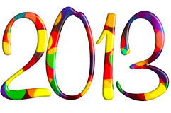 Welcome new 2013 year. Colorful bokeh texture filling 2013 on white background Stock Image