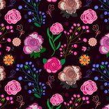 Colorful bold pink floral seamless pattern over deep purple background vector illustration