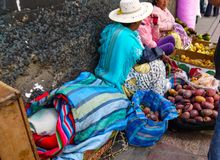 Colorful bolivian bazaar in La Paz, Bolivia stock image