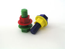 Colorful Bolts. Colorful Toy Bolts royalty free stock photos