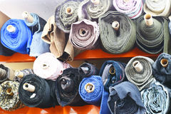 Colorful bolts of fabric Royalty Free Stock Photos