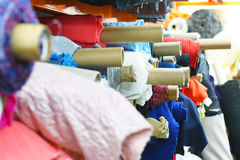 Colorful bolts of fabric Stock Photos