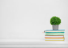 Colorful book on console white table on white background.Backgro Royalty Free Stock Photography