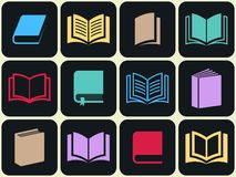 Colorful book icon set Royalty Free Stock Images