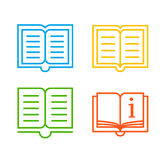 Colorful book icons. Four different lineart style books symbols royalty free illustration