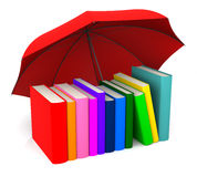 Colorful Book with Red Umbrella. 3D Rendering Royalty Free Stock Image