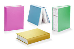 Colorful book set with clipping path. Hard covered books with clipping path Stock Images