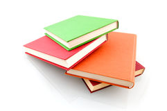 Colorful book stack. Isolated on white background royalty free stock photo