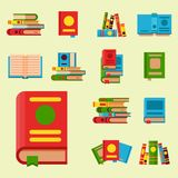 Colorful book vector illustration learn literature study opened and closed education knowledge document textbook Stock Images
