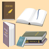 Colorful book vector illustration learn literature study opened closed education knowledge document textbook. Learning page university text reading Royalty Free Stock Images