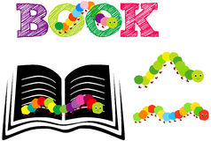 Colorful book worm. A illustration of book worm with text and book Stock Photos