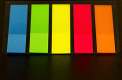 Colorful bookmarks for documents Stock Photo