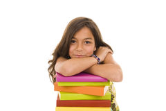 Colorful books. Happy young girl with colorful books stock photography