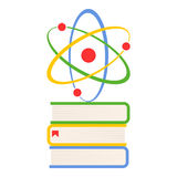 Colorful Books and Atom Flat Icon on White royalty free stock photos