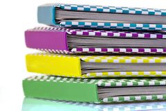 Colorful books closeup. On a white background Stock Photo