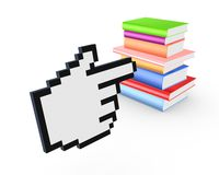 Colorful books and cursor. Royalty Free Stock Images