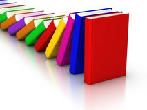 Colorful books Domino Effect. 3D rendered row of colourful books domino effects Royalty Free Stock Photo
