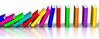 Colorful books falling like domino. 3D rendered row of colourful books domino effects Stock Images