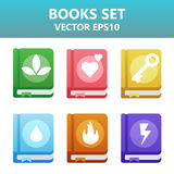 Colorful  books with gaming symbols. Assets set for game design and web application. Colorful  books with gaming symbols. Ready assets set for game design and Royalty Free Stock Images