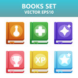 Colorful  books with gaming symbols. Assets set for game design and web application. Colorful  books with gaming symbols. Ready assets set for game design and Stock Photo