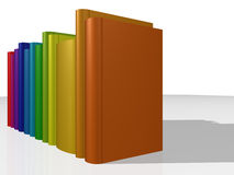 Colorful books II. CGI colorful books, focus on the cover of the first book Royalty Free Stock Photo