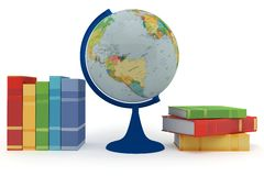 Colorful books for learning and globe Royalty Free Stock Photography